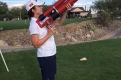 Ann Evans aims Air Cannon