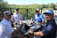 l to r Gerry Duggan, Buzz Mills, Chris VanHaaren, and Steve Anderson enjoy lunch before the golf tournament