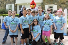 Students with baseball mascot